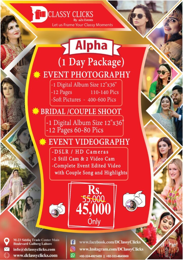 wedding photography packages, photographers packages, photography videography prices in pakistan