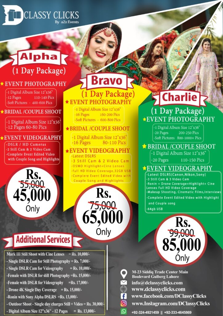 Photography charges, videography charges, female photograher charges in lahore, female photographer